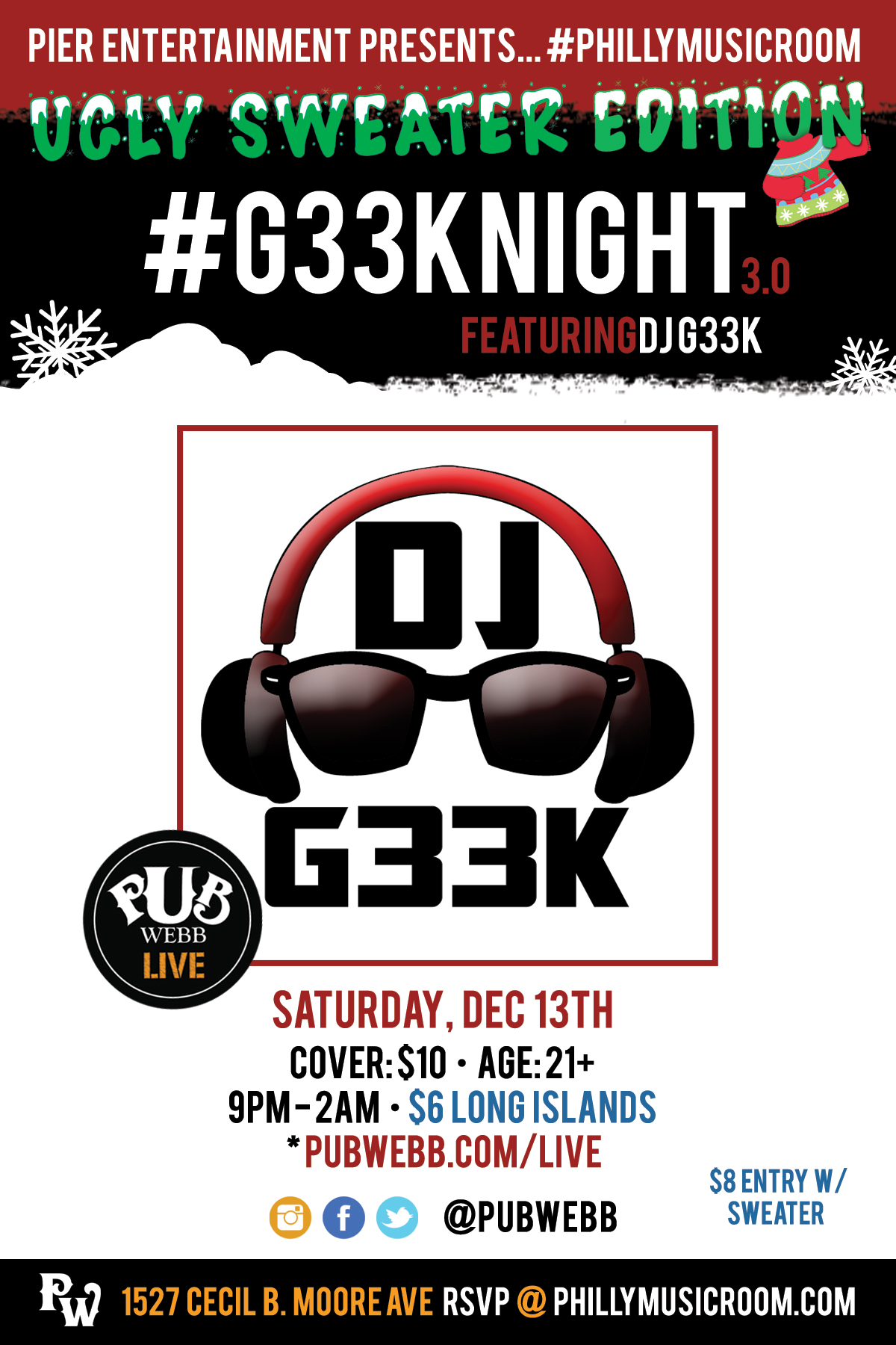 #PhillyMusicRoom Presents... #G33kNight 3.0 Ugly Sweater Edition at Pub Webb Live