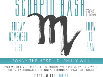 #PhillyMusicRoom Scorpio Bash: V.S.O.P. Special Edition