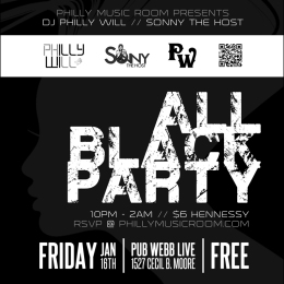 ALL BLACK PARTY featuring DJ PHILLY WILL at Pub Webb Live